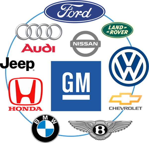 Group of car manufacturers logos