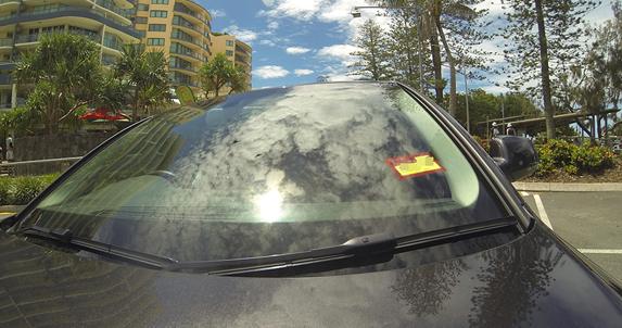 Closeup of car windshield