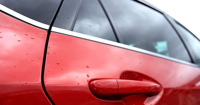 Closeup of car door handle