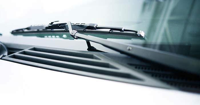 Closeup of windshield wiper